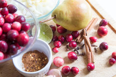 Fresh fall ingredients for cranberry sauce Stock Photos