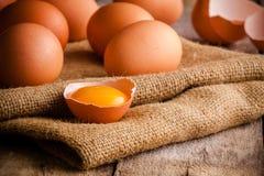 Fresh Farm Eggs On Sacking Royalty Free Stock Photos