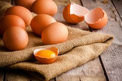 Fresh farm eggs on sacking Stock Image