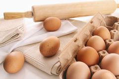 Fresh farm eggs on table Stock Photography