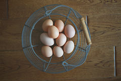 Fresh Farm Eggs in a Wire Basket Royalty Free Stock Photo