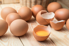 Fresh farm eggs on a wooden rustic background Royalty Free Stock Photography