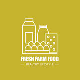 Fresh farm food vector logo design template. Modern linear branding element for healthy lifestyle company or food Royalty Free Stock Image
