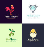 Fresh farm logos set. Vector labels for business with products from chicken meat, milk, dairy, eggs and olives. Royalty Free Stock Photos