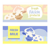 Fresh farm products. Happy cow on meadow. Editable Royalty Free Stock Images