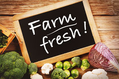 Fresh Farm Vegetables Concept with Chalk Board. Black Chalk Board with Farm Fresh Texts with Assorted Organic Veggies on Sides on Top of Wooden Table Royalty Free Stock Photography