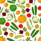 Fresh farm vegetables seamless pattern background Royalty Free Stock Photos