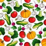 Fresh farm veggies seamless pattern Stock Image