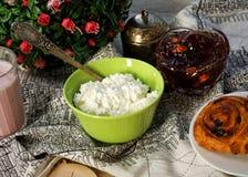 Fresh farmer cream cheese Stock Images
