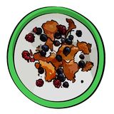 Fresh farmer`s cheese, curd cheese, tvorog, quark or ricotta with fresh berries in green bowl. stock illustration