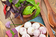 Fresh farmers basil and spices Royalty Free Stock Photo