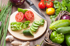 Fresh farmers garden vegetables and herbs cooking Royalty Free Stock Image