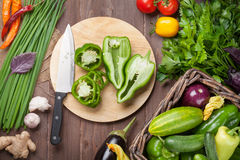 Fresh farmers garden vegetables and herbs cooking Royalty Free Stock Photography