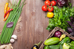 Fresh farmers garden vegetables and herbs Stock Photo