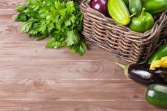 Fresh farmers garden vegetables and herbs Stock Photos