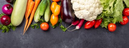 Free Fresh Farmers Garden Vegetables On Stone Background. Horizontal Banner. Harvest Time. Top View Royalty Free Stock Photo - 170103175
