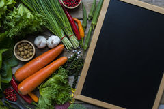 Fresh farmers market fruit and vegetable. From above with copy space stock photography