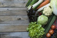 Fresh farmers market fruit and vegetable from above with copy sp. Ace royalty free stock photo