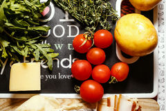 Fresh farmers market fruit and vegetable on red table Royalty Free Stock Photos