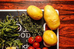 Fresh farmers market fruit and vegetable on red table Royalty Free Stock Images