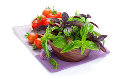 Fresh farmers tomatoes and basil. Isolated on white background Stock Image
