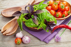 Fresh farmers tomatoes and basil Royalty Free Stock Photo