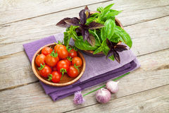 Fresh farmers tomatoes and basil. On wood table Stock Image