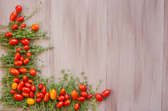 Fresh farmers tomatoes and spice on wood table. Copy space. stock photo