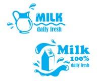 Fresh farming milk emblem Stock Image