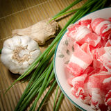 Fresh fat beef slices Stock Photography