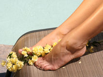 Fresh Feet. Female feet with flowers pool and wicker chair as backgrounds Stock Photos