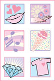 Fresh Feminine Icons/Logos. A collection of six stylized illustrations of female-related images, useful for icons or logos. Vector Illustrator 8 .eps file Royalty Free Stock Photos