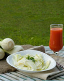 Fresh fennel salad with lemon juice, olive oil and parsley Royalty Free Stock Images