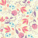 Fresh field flowers and leaves seamless pattern Stock Images