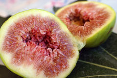Fresh Fig. Halved Fresh fig isolated close-up Royalty Free Stock Photography