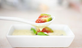 Fresh fig with cheese sauce Royalty Free Stock Image