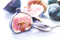 Fresh fig cut in half Royalty Free Stock Photography
