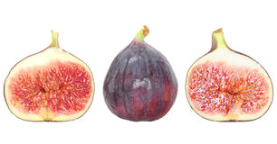 Fresh fig fruit and fig halves isolated on white Stock Image