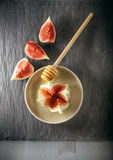 Fresh fig on the plate. With honey Royalty Free Stock Photos