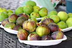 Fresh figs. Plate of fresh figs on the country open market Royalty Free Stock Photo