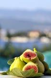 Fresh figs. On sea background Royalty Free Stock Photo