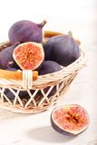 Fresh figs in a basket Royalty Free Stock Photo