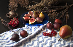 Fresh figs on a blue plate Stock Image
