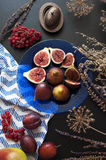 Fresh figs on a blue plate Stock Images