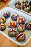 Fresh figs in a ceramic baking tray Stock Images