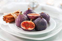 Fresh figs with cinnamon for Christmas Stock Image