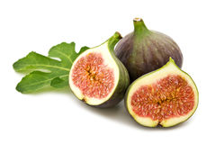 Fresh figs and leaf Royalty Free Stock Photos