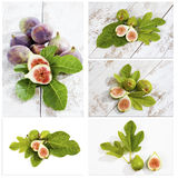 Fresh figs with leaves, collage Stock Photography
