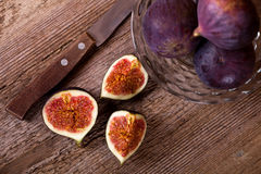 Fresh figs and old knife Stock Image