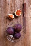 Fresh figs and old knife Royalty Free Stock Photo